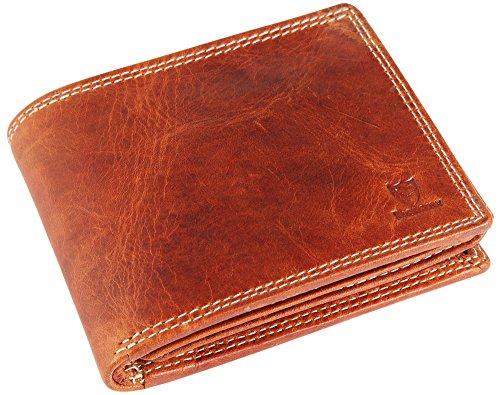 Pierrini Herren echt Leder Geldbörse in Cognac Braun im Querformat Reißverschlussfach Brieftasche
