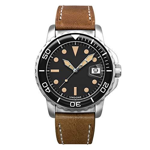 "Undone""AQUA 1960"" Solid Orologio Uomo Automatico Acciaio Pelle Vintage Diver"
