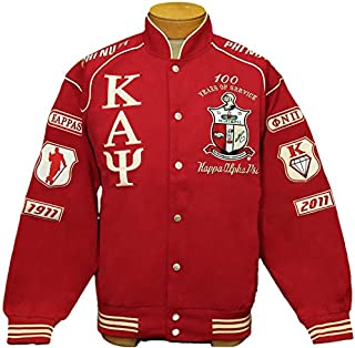 Divine 9 Greek Wear New! Mens Kappa Alpha Psi - Phi Nu Pi Fraternity Racing Style Jacket - Red - 4XL