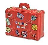 Wurm KG Hucha Vacaciones–Caja de Color Rojo en Forma de maletín | Hucha roja, Caja de Viaje con Llave y candado | Hucha con Cerradura