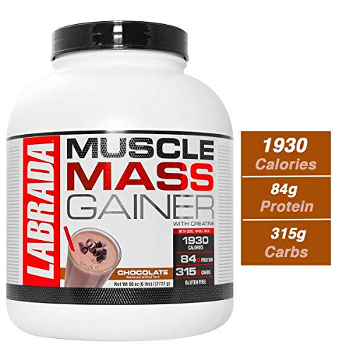 Labrada Muscle Mass Gainer (Gain Weight, Post-Workout, 84g Protein, 315g Carbs, Gluten Free,17g BCAA, 20 Vitamins & Minerals, 8 Servings) - 6 lbs (2.72 kg) (Chocolate)