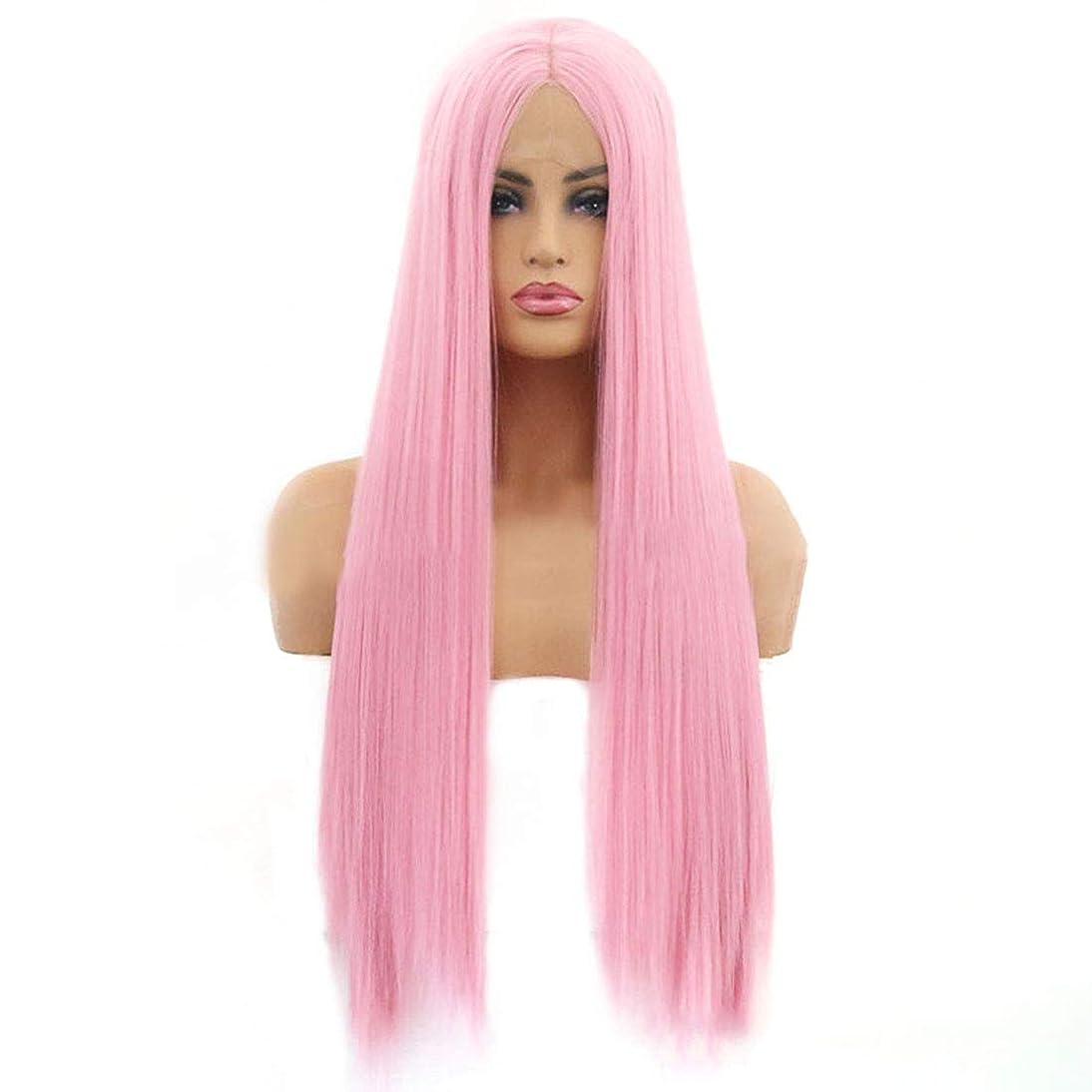 違う聴衆雑草Yrattary ヨーロッパとアメリカのかつら女性ピンクロングストレートヘアウィッグフロントレースケミカルファイバーウィッグ複合ヘアレースウィッグロールプレイングかつら (色 : ピンク, サイズ : 16 inches)