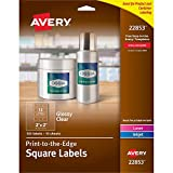 Avery Printable Blank Square Labels, 2' x 2', Glossy Crystal Clear, 120 Customizable Labels (22853)
