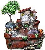 KEKEYANG Creative Desktop Fuente de Resina de rocalla Fuente y el humidificador de Interior casero del Paisaje del Agua Fuente Interior