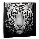 Cortina de baño, Tema Negro The Ink and The White Tiger with Blue Eyes Set de Cortinas de baño con Ganchos