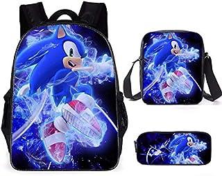 Sonic The Hedgehog - Mochila infantil para senderismo, niños y niñas Multicolor 06 3 partes