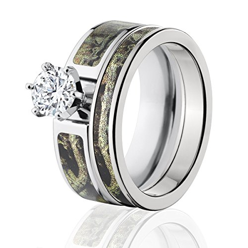 Mossy Oak Camo Bridal Set, Camo Wedding Rings, Break-Up Infinity Camo Rings