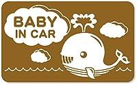 imoninn BABY in car ステッカー 【マグネットタイプ】 No.33 クジラさん (ゴールドメタリック)
