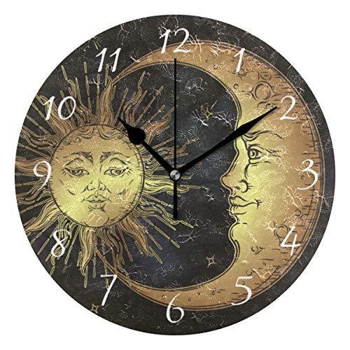 Ahomy Runde Wanduhr Boho Sonne Mond Sterne Home Art Decor Antiticking Ziffern Uhr für Home Office 1 x AA Batterie (nicht im Lieferumfang enthalten)