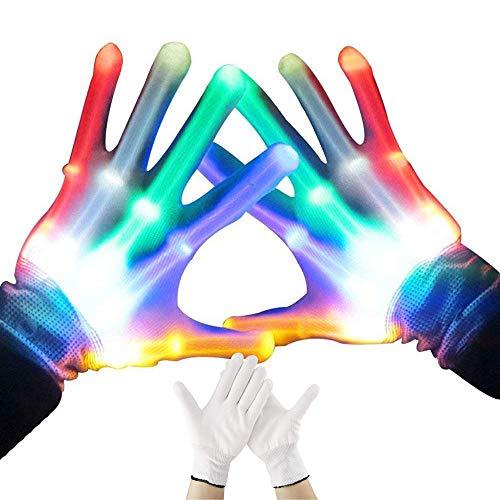 Knowing Led Handschuhe, 2 Stück LED Blinkende Handschuhe, Bunte Rave-Handschuhe LED-Skeletthandschuhe, für Erwachsene Halloween Weihnachtsgeburtstags Party Geschenke