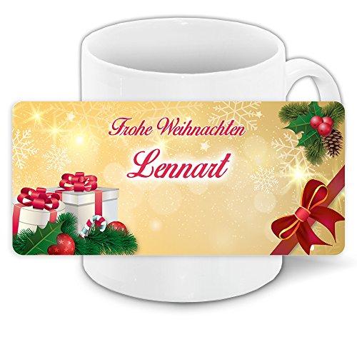Tasse zu Weihnachten mit Namen Lennart und schönem Motiv mit Geschenken, Mistelzweig und Schleife