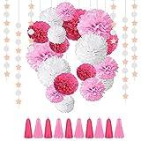 23 Piezas Pompom Flores, Pompones De Papel De Seda,QAQHZW guirnaldas con estrellas,Pompones De Papel, Decoracion Flores Pom Pom, Decoraciones De Fiesta, Para Cumpleaños, Baby Bautizo,(rosa )
