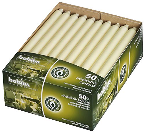 Bolsius Straight Unscented Ivory Candles Pack of 50-11-inch Long Candles - 12 Hour Long Burning Candles - Perfect for Emergency Candles, Chime Candles, Table Candles for Wedding, Dinner, Christmas