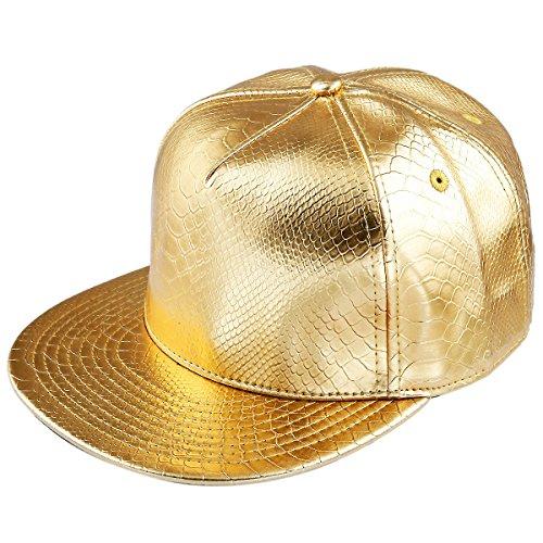 Samtree Unisex Snapback Hats,Adjustable Hip Hop Flat Brim Baseball Cap (01-Gold)