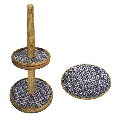 Etagère set met 1 grote fruitschaal ø 30 en 28 cm mangohout met keramische decoratie geschikt voor levensmiddelen 30 x 60 x 30 cm blauw/wit