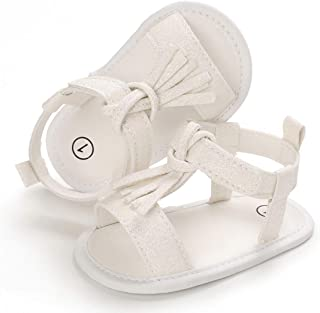 Mybbay Infant Baby Girls Flower Sandals Soft Soles Bowknot Princess Dress Summer First Walker Crib Shoes