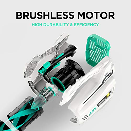 Litheli 40V Cordless Leaf Blower 480CFM Electric Leaf Blowers 92MPH with Brushless Motor, 2.5AH Battery and Charger