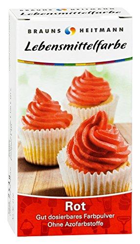 Brauns Heitmann Farba spożywcza w kolorze czerwonym 2110 barwnik bez barwników azowych – proszek do barwników spożywczych do ozdabiania wypieków, wypełniaczy, kremów, deserów – neutralny smakowo naturalny barwnik