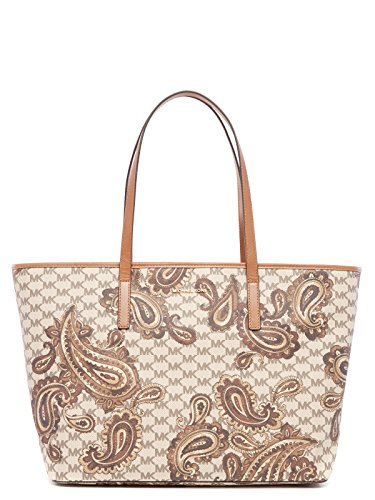 """MK Heritage Paisley Coated Canvas Zip closure, 9-1/2""""L double handles Interior features lining, 1 zip pocket and 3 open pockets Exterior features logo lettering, Gold tone hardware Approximate Measurements: 19""""W x 11""""H x 7""""D"""