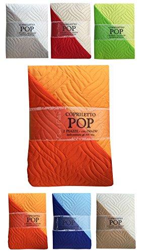 Tata Home Copriletto Trapuntato Hop Misura 1 Piazza Singolo 170x250 cm Telo Arredo Copridivano 2 Posti Colore Arancio Mandarino Double Face