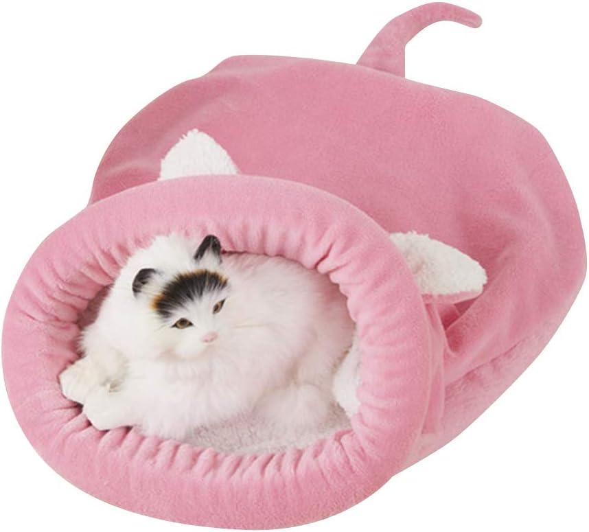 BLEVET Saco de Dormir para Mascotas Snuggle Saco de Manta Manta para Gatito Cachorro Pequeños MZ042 (L, Pink)