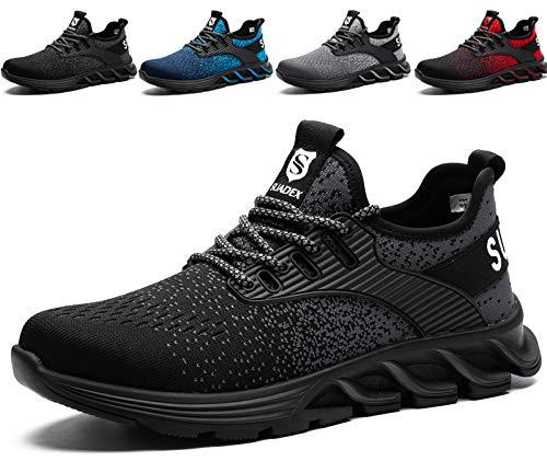 SUADEX Sicherheitsschuhe Herren Damen Arbeitsschuhe mit Stahlkappe S3 Leicht Atmungsaktiv Sportlich Arbeits Schuhe (Schwarz,44EU)