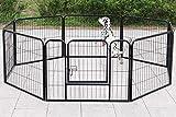 Dawoo Gartenzaun aus Metall, faltbar, 60 x 80 cm, Schwarz, 6 Stück