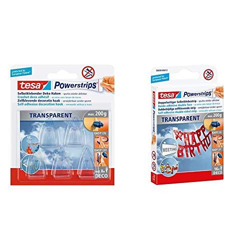 tesa Powerstrips DECO Haken SMALL - Klebehaken für Deko an Glas und Spiegel - bis zu 200 g Haltekraft & Powerstrips...