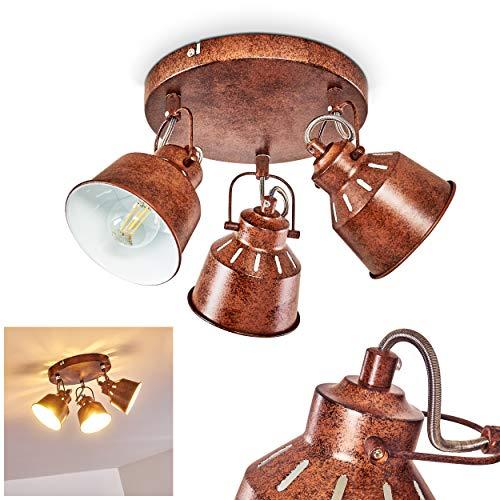 Lámpara de techo Safari, redonda de metal en óxido/blanco, 3 llamas, con focos ajustables y efecto de luz, tomas 3 x E14 máx. 40 W, spot en diseño retro/vintage, adecuado para bombillas LEDs