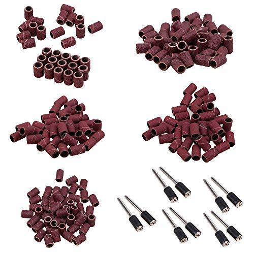GOODCHANCEUK - Juego de 260 bandas de lijado de 1/4 pulgadas, mangas 80/150/180/240/320 granos cada uno 50 unidades+ 10 mandriles para cerámica, piedra, vidrio, madera