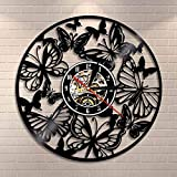 FDGFDG Fairy Wings Angel Butterfly Wall Art Home Decor Wall Clock Butterflies Vinyl Record Clock Insect Wild Life Animal Clock
