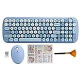 Juego De Teclado Y Mouse Inalámbricos, Lindo Combo De Teclado Y Mouse De 2.4 GHz con Tecla Redonda Retro, Lindo Teclado De 110 Teclas para PC/Computadora Portátil, para Windows(Azul Claro)