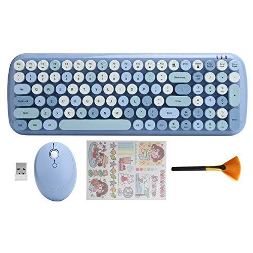 Juego Teclado Y Mouse Inalámbrico   2.4G Teclado De Tamaño Completo Oficina Teclas Flexibles Máquina Escribir   Teclado Colorido con Teclado Numérico E Interfaz USB con Tableta Portátil(Azul)