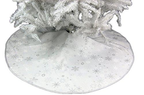 Hossner Baumdecke Weihnachten Sterne Silber Christbaumdecke Wende - Weihnachtsbaumdecke Baumschürze Schutzdecke (95 cm)