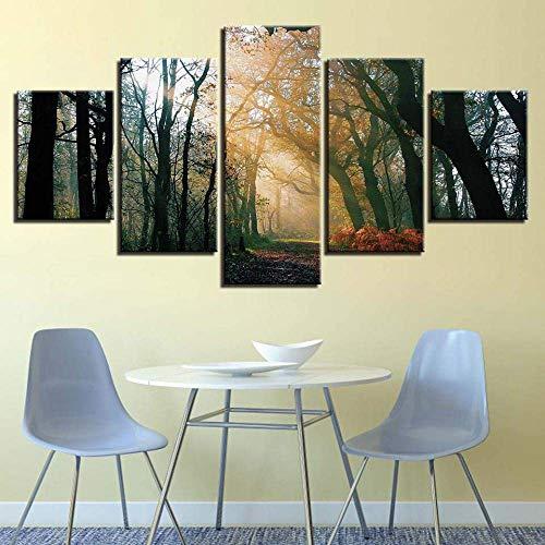 yusanbaihuodian Wandkunst Leinwand HD gedruckte Bilder 5 Stück amerikanische Flagge & Sieg Hand Geste Malerei für Wohnzimmer Dekor modular