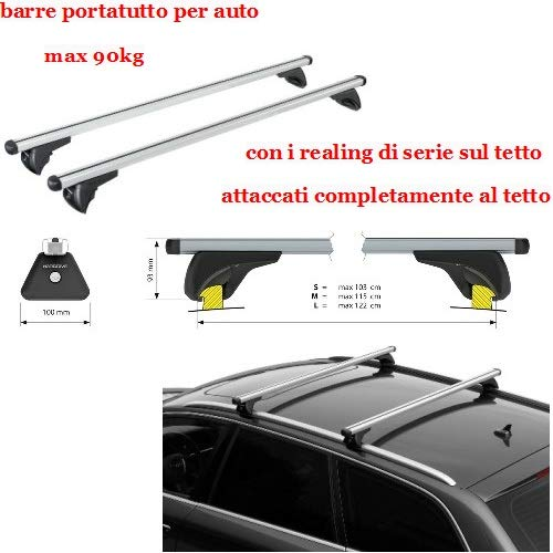 Compatible con Peugeot 508 sw 01/19> Racks DE Techo para Coche Barra DE 120CM para Coches con Baja Escalera ADJUNTA AL Rack DE Equipaje DE Techo Aluminio 90KG Aprobado
