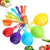 Measuring Cups and Spoons Set 12 Piece,Colorful measuring spoons,Plastic Measuring Spoons used for Measuring Dry and Liquid Ingredients for Baking and Cooking