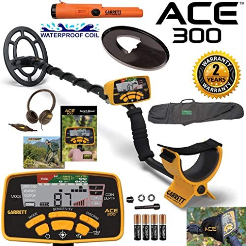 Garrett ACE 300 Metal Detector with Waterproof Coil Pro-Pointer at and Carry Bag Detectors Metal
