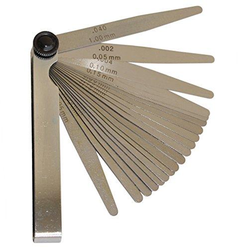 Fühlerlehre 20 Blatt 0,05 - 1,0 mm konisch Fühlerlehrensatz