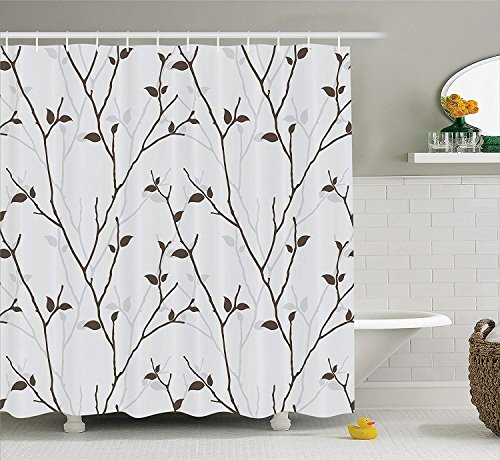 Ambesonne Leaf Shower Curtain, Branches in The Fall Trees Stem Twig with Last Few Leaves Minimalistic Design Art, Cloth Fabric Bathroom Decor Set with Hooks, 84