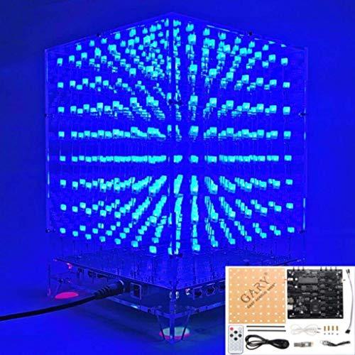 Yongse 3D Light Cube Kit 8x8x8x8 Blue LED MP3 Music Spectrum DIY Electronic Kit