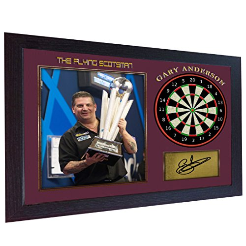 S&E DESING Gary Anderson Autogramm, The Flying Scotsman Signiertes Poster Foto Print Darts gerahmt