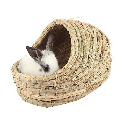 Venhoy Rabbit Grass House - Juego de hierba marina natural tejida a mano, cama de heno, sombrero de juguete para conejos, hámsters, cobayas, chinchilla