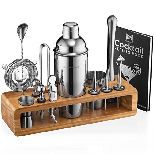 Mixology Bartender Kit: 23-Piece Bar Set Cocktail Shaker Set with Stylish Bamboo Stand | Perfect for Home Bar Tools Bartender Tool Kit and Martini Cocktail Shaker for Awesome Drink Mixing (Silver)