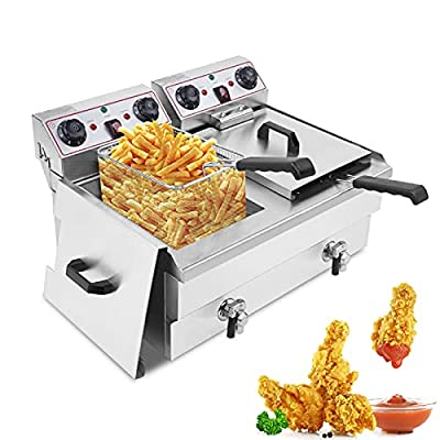 24.9QT/23.6L Commercial Deep Fryer with Baskets, 3400W Dual Tank Medium-Duty Electric Countertop Fryerwith Adjustable Timer andFaucetDrain Valve System for Restaurant Home Kitchen Use(Double(24.9QT/23.6L))
