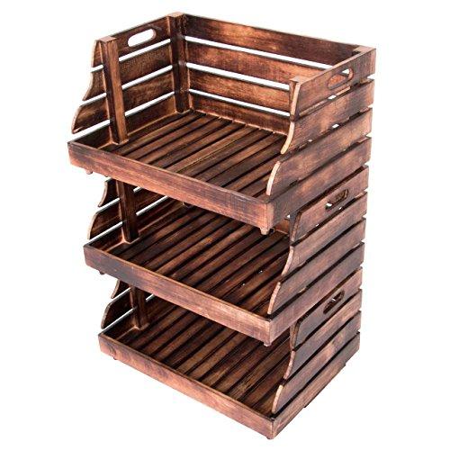 Divero 3er Set Vintage Holzkiste Stapel-Kiste Spielzeug-Box Stiege braun geflammt Aufbewahrung 49x35x25,5cm Obst- und Gemüsekisten-Look