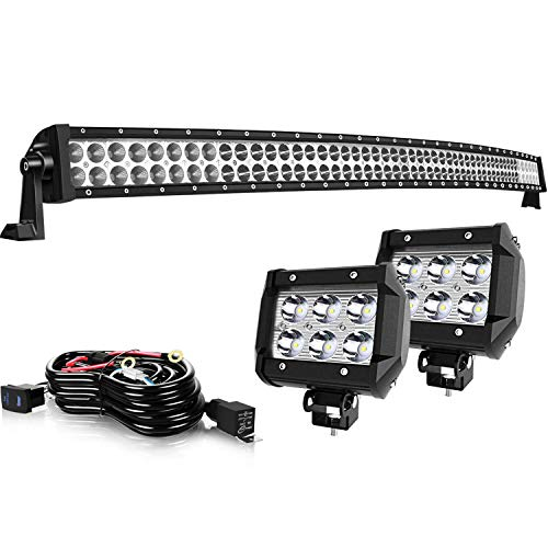 TURBO SII 54Inch Curved LED Light Bar Flood Spot Combo Beam W/ 4in Off Road Pods Cube Driving Fog Lights + Rocker Switch Wiring Harness For Trucks Jeep Ford Polaris RZR ATV Chevy Silverado Tahoe 4x4