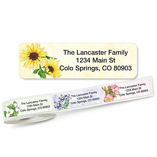 Spring Floral Rolled Address Labels with Clear Dispenser by Colorful Images (5 Designs) Roll of 250