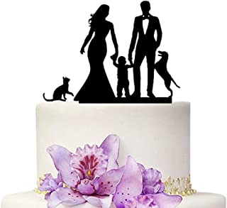 Wedding Cake Topper - Mom and Dad With Child Cat and Dog Family Anniversary Cake Topper