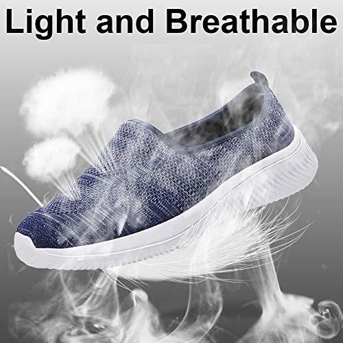 Gaatpot Mujer Zapatillas Casual Mocasines Mesh Calzados para Correr en Asfalto Zapatillas de Estar por Casa Deportivo de Exterior Zapatos Blau 38.5/39EU==39CN
